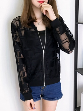 Ericdress Lace Patchwork Zipper Jacket