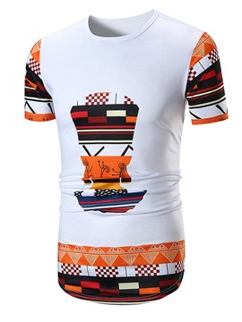 Ericdress Color Block Print Mens Loose T Shirt