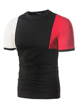 Ericdress Patchwork Color Block Slim Fit Mens Summer T Shirt