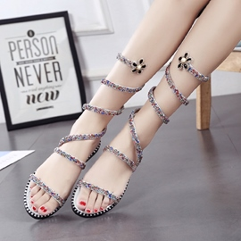 Ericdress Sequin Ankle Strap High Shaft Plain Flat Sandals