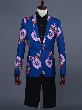 Ericdress Floral Print Blazer Plain Pants Mens Casual Suit