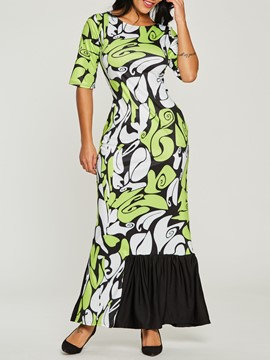 Ericdress Geometric Print Color Block Ruffle Mermaid Maxi Dress