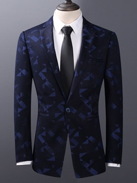 Ericdress Geometric Print Slim Fit One Button Mens Jacket Blazer