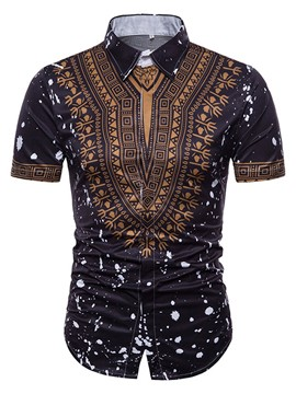 Ericdress African Fashion Dashiki Print Mens Short Sleeve Shirt