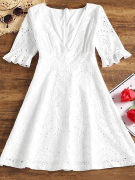 Ericdress V Neck Short Sleeve Lace Women's Lace Dress