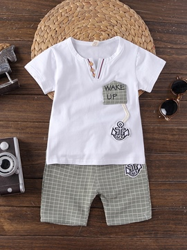 Ericdress Plaid Patchwork Print Baby Boy's Summer Outfits