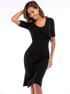 Ericdress Black V-Neck Plain Pullover Women's Bodycon Dress