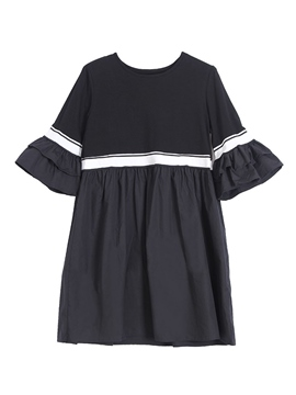 Ericdress Patchwork Pullover Scoop Women's Casual Dress