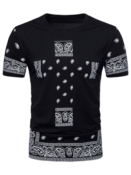 Ericdress Dashiki African Print Slim Fit Mens T Shirt