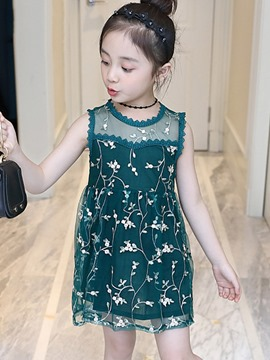 Ericdress Scoop Mesh Embroidery Floral Girls Dresses