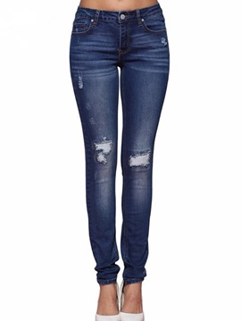 Ericdress Plain Hole Slim Denim Mid-Waist Women's Jeans