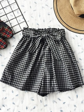 Ericdress Loose Bowknot Plaid Women's Shorts