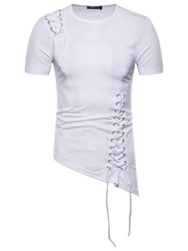 Ericdress Plain Slim Asymmetric Strappy Men's T Shirt