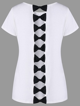 Ericdress Patchwork Bowknot Scoop Short Sleeve Tee Shirt