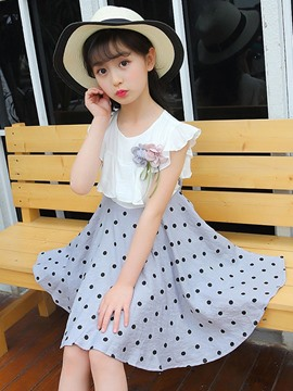 Ericdress Polka Dots Ruffles 3D Lace UP Girl's Dress