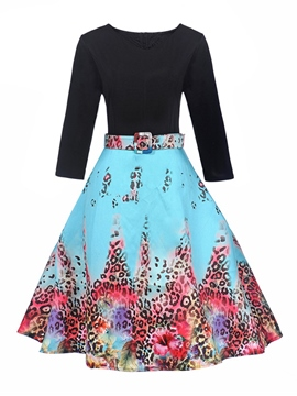 Ericdress Leopard Pullover Patchwork Women's Skater Dress