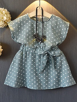 Ericdress Polka Dots Print Lace Up Girl's Pleated Dress