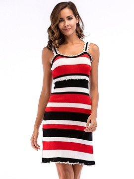 Ericdress Pullover Stripe Patchwork Women's Bodycon Dress
