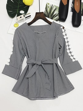 Ericdress Plaid V-Neck Lace Patchwork Long Sleeve Blouse