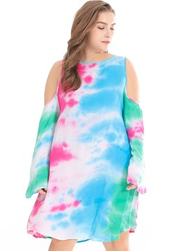 Ericdress Plus Size Cold Shoulder Long Sleeve Tie-Dye Beach Dress