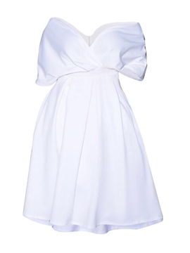 Ericdress White A-line Short Sleeve Women's A Line Dress
