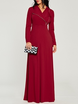 Ericdress Zipper Floor-Length Long Sleeve Women's Maxi Dress