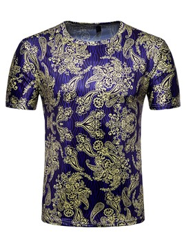 Ericdress Golden Floral Print Color Block Mens T Shirt