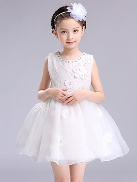 Ericdress 3D Mesh Bead Lace Girl's Patchwork Ball Gown Princess Dress