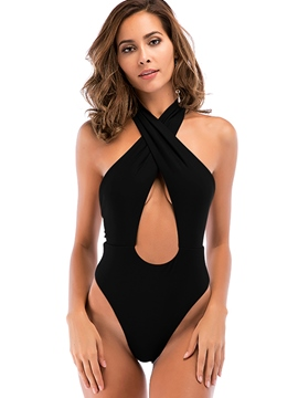 Ericdress Plain Halter Lace-Up Sexy Hollow One Piece Swimwear Monokini