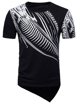 Ericdress Print Asymmetric Mens Color Block Summer T Shirt