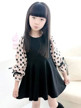Ericdress Polka Dots Pleated Bowknot Flare Sleeve Girl's Dress