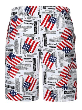Ericdress American Flag Print Mens Swim Beach Shorts