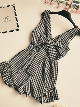 Ericdress Plaid Loose Women's Rompers