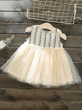 Ericdress Geometric Print Mesh Patchwork Baby Girl's Ball Gown