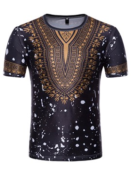 Ericdress Dashiki African Print Mens Summer T Shirt