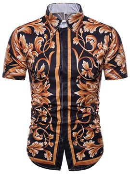 Ericdress Lapel Print Short Sleeve Slim Men's Shirt