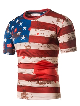 Ericdress American Flag Print Stripe Mens Summer T Shirt