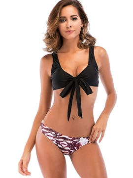 Ericdress Black Bowknot Tie Front 2-Pcs Bikini Bathing Suits