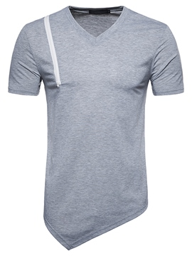 Ericdress Asymmetric V-Neck Slim Mens Summer T Shirt