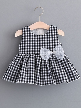 Ericdress Plaid Patchwork Bowknot Girl's Pleated Dress