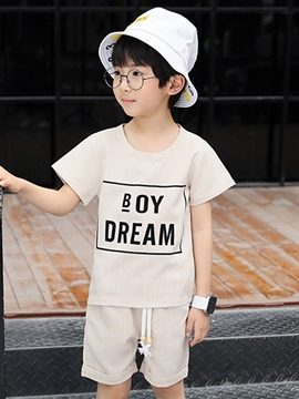 Ericdress Letter Plaid T Shirt Lace Up Shorts Boy's Summer Outfits