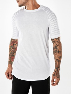 Ericdress Plain Stripe Mens Straight Basic T Shirt
