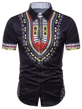 Ericdress Dashiki Print Slim Fit Mens Short Sleeve Shirt