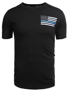 Ericdress Print Stripe Slim Mens Casual T Shirt