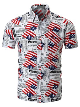 Ericdress American Flag Print Mens Short Sleeve Summer Shirt