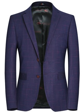 Ericdress Plaid Slim Fit Notched Lapel Mens Jacket Blazer