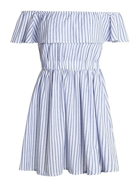Ericdress Pullover Stripe Ruffles Women's Casual Dress