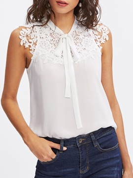 Ericdress Slim Lace Patchwork Sleeveless Blouse