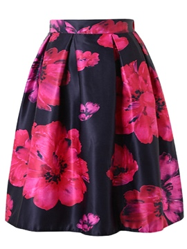 Ericdress Pleated Print Mid-Calf Women's Skirt