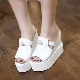 Ericdress Plain Beads Decorated Platform Wedge Heel Mules Shoes